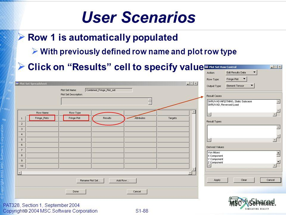 PAT328, Section 1, September 2004 Copyright 2004 MSC.Software Corporation S1-88 User Scenarios Row 1 is automatically populated With previously defined row name and plot row type Click on Results cell to specify values
