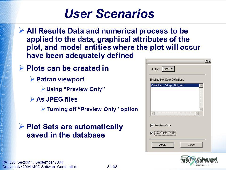 PAT328, Section 1, September 2004 Copyright 2004 MSC.Software Corporation S1-93 User Scenarios All Results Data and numerical process to be applied to the data, graphical attributes of the plot, and model entities where the plot will occur have been