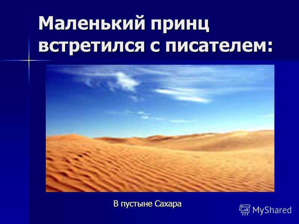 Маленький принц встретился с писателем: В пустыне Сахара В пустыне Сахара