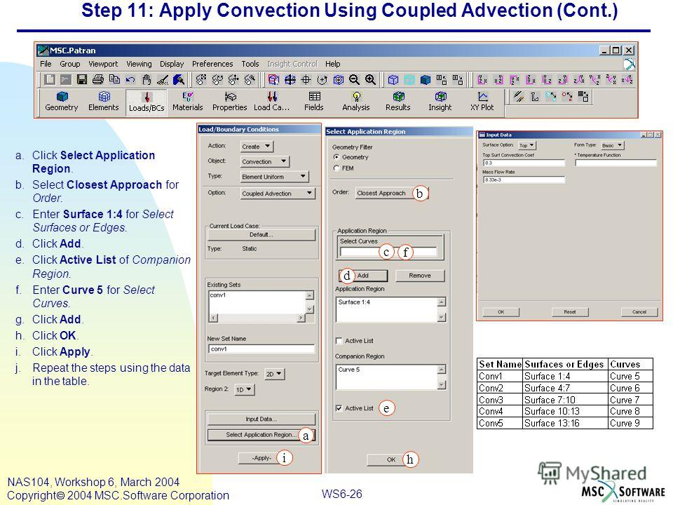 WS6-26 NAS104, Workshop 6, March 2004 Copyright 2004 MSC.Software Corporation Step 11: Apply Convection Using Coupled Advection (Cont.) a.Click Select Application Region. b.Select Closest Approach for Order. c.Enter Surface 1:4 for Select Surfaces or