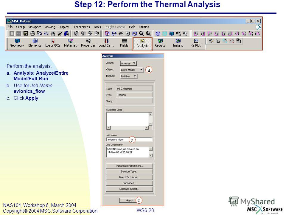 WS6-28 NAS104, Workshop 6, March 2004 Copyright 2004 MSC.Software Corporation Step 12: Perform the Thermal Analysis Perform the analysis. a.Analysis: Analyze/Entire Model/Full Run. b.Use for Job Name avionics_flow c.Click Apply a c b