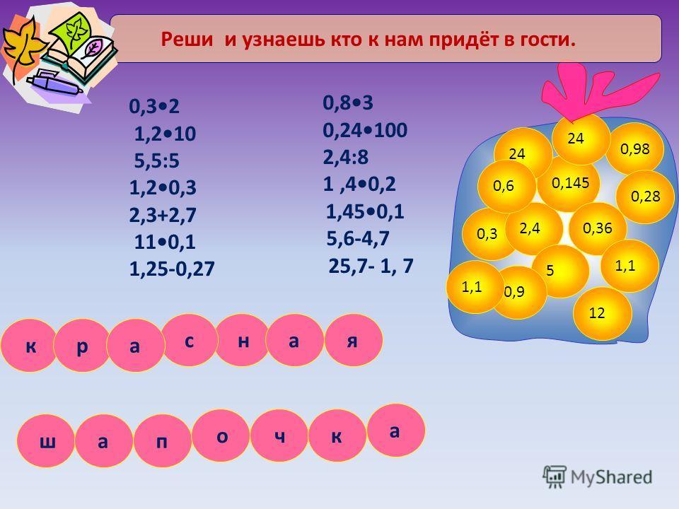 0,32 1,210 5,5:5 1,20,3 2,3+2,7 110,1 1,25-0,27 0,83 0,24100 2,4:8 1,40,2 1,450,1 5,6-4,7 25,7- 1, 7 0,3 2,4 0,145 24 0,36 0,98 24 5 1,1 0,9 12 1,1 0,6 0,28 Реши и узнаешь кто к нам придёт в гости. ч п я ш к н а р а с а к о а
