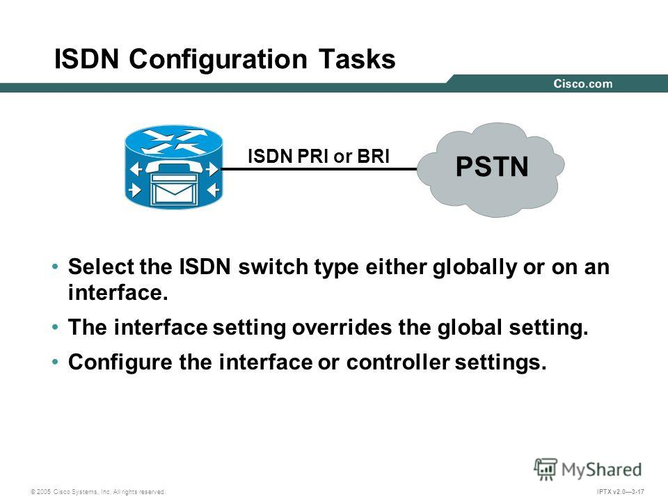 © 2005 Cisco Systems, Inc. All rights reserved. IPTX v2.03-17 ISDN Configuration Tasks Select the ISDN switch type either globally or on an interface. The interface setting overrides the global setting. Configure the interface or controller settings.