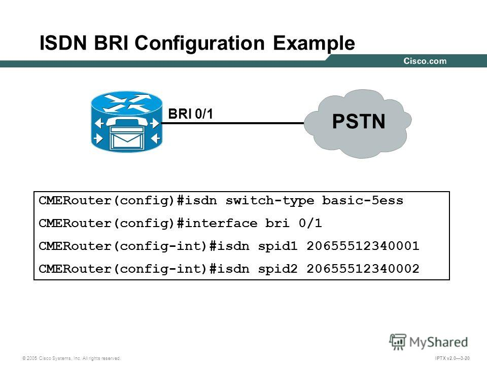 © 2005 Cisco Systems, Inc. All rights reserved. IPTX v2.03-20 ISDN BRI Configuration Example BRI 0/1 CMERouter(config)#isdn switch-type basic-5ess CMERouter(config)#interface bri 0/1 CMERouter(config-int)#isdn spid1 20655512340001 CMERouter(config-in