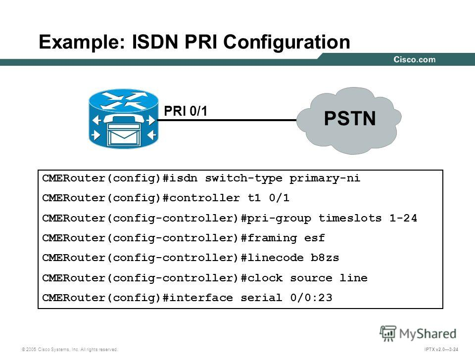 © 2005 Cisco Systems, Inc. All rights reserved. IPTX v2.03-24 Example: ISDN PRI Configuration PRI 0/1 CMERouter(config)#isdn switch-type primary-ni CMERouter(config)#controller t1 0/1 CMERouter(config-controller)#pri-group timeslots 1-24 CMERouter(co