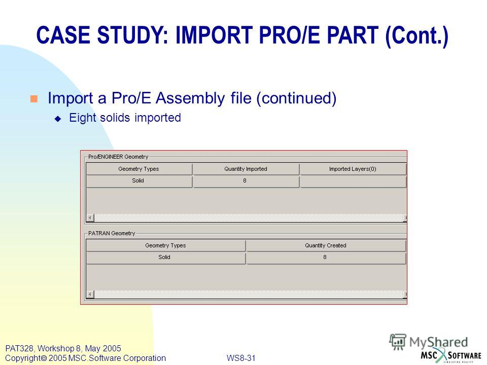 WS8-31 PAT328, Workshop 8, May 2005 Copyright 2005 MSC.Software Corporation CASE STUDY: IMPORT PRO/E PART (Cont.) n Import a Pro/E Assembly file (continued) u Eight solids imported