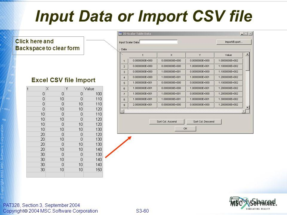 PAT328, Section 3, September 2004 Copyright 2004 MSC.Software Corporation S3-60 Input Data or Import CSV file Excel CSV file Import Click here and Backspace to clear form