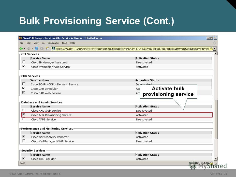 © 2006 Cisco Systems, Inc. All rights reserved. CIPT1 v5.03-8 Bulk Provisioning Service (Cont.) Activate bulk provisioning service