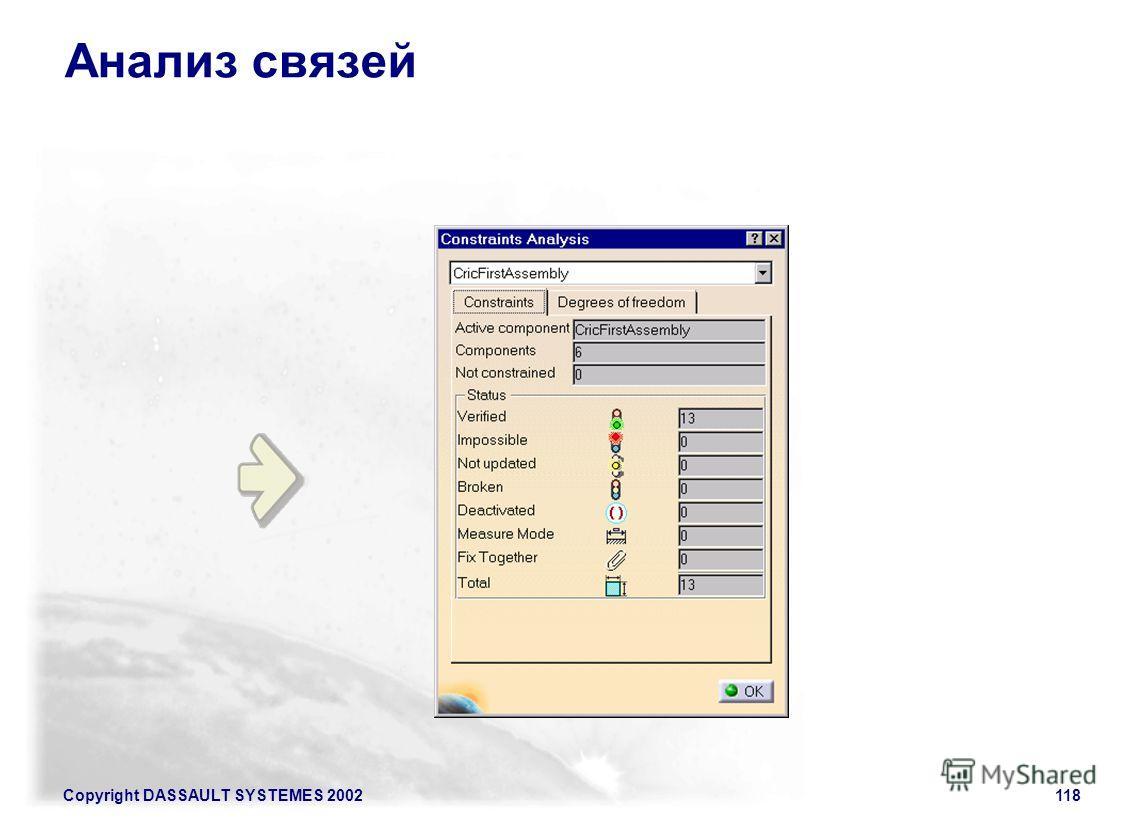 Copyright DASSAULT SYSTEMES 2002118 Анализ связей