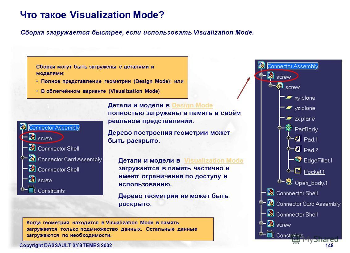 Copyright DASSAULT SYSTEMES 2002148 Что такое Visualization Mode? Сборка загружается быстрее, если использовать Visualization Mode. Детали и модели в Design Mode полностью загружены в память в своём реальном представлении. Дерево построения геометрии