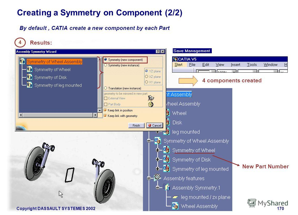 Copyright DASSAULT SYSTEMES 2002170 Creating a Symmetry on Component (2/2) By default, CATIA create a new component by each Part 4 Results: 4 components created New Part Number