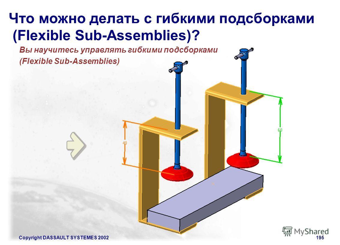 Copyright DASSAULT SYSTEMES 2002195 Что можно делать с гибкими подсборками (Flexible Sub-Assemblies)? Вы научитесь управлять гибкими подсборками (Flexible Sub-Assemblies)