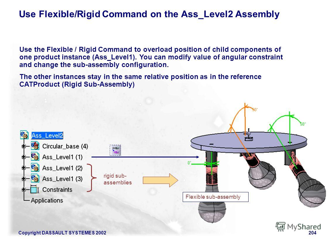 Copyright DASSAULT SYSTEMES 2002204 Use Flexible/Rigid Command on the Ass_Level2 Assembly Flexible sub-assembly rigid sub- assemblies Use the Flexible / Rigid Command to overload position of child components of one product instance (Ass_Level1). You