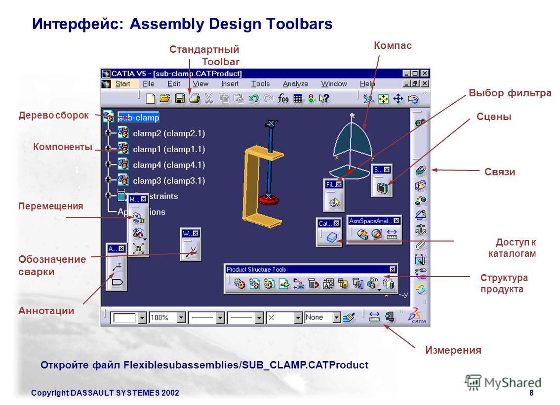 Copyright DASSAULT SYSTEMES 20028 Интерфейс: Assembly Design Toolbars Связи Дерево сборок Компоненты Структура продукта Перемещения Измерения Стандартный Toolbar Компас Доступ к каталогам Обозначение сварки Аннотации Сцены Выбор фильтра Откройте файл
