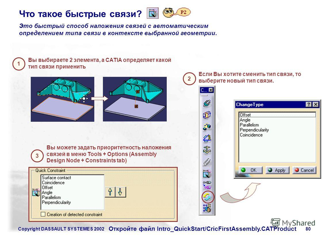 Copyright DASSAULT SYSTEMES 200280 Что такое быстрые связи? Это быстрый способ наложения связей с автоматическим определением типа связи в контексте выбранной геометрии. Вы выбираете 2 элемента, а CATIA определяет какой тип связи применить 1 Если Вы