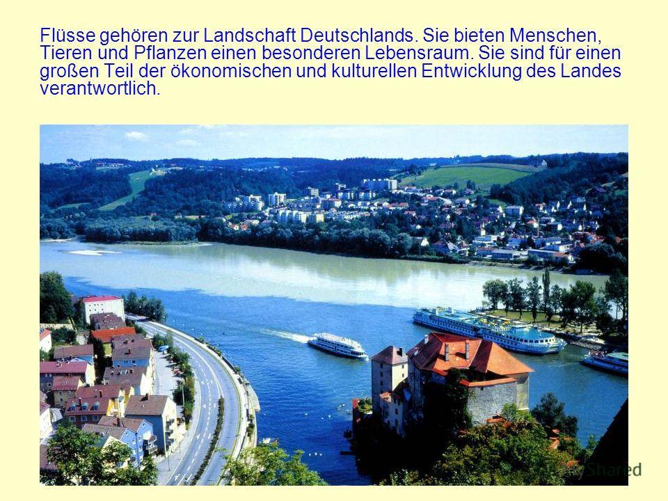 Flüsse gehören zur Landschaft Deutschlands. Sie bieten Menschen, Tieren und Pflanzen einen besonderen Lebensraum. Sie sind für einen großen Teil der ökonomischen und kulturellen Entwicklung des Landes verantwortlich.