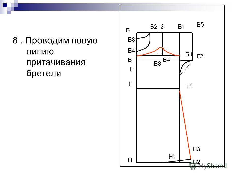 8. Проводим новую линию притачивания бретели В Н В1 Н1 Т Т1 Г Б4 В5 Г2 Н2 Н3 В3 В4 Б1 Б Б3 Б2 2