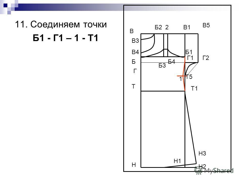 В Н В1 Н1 Т Т1 Г Б4 В5 Г2 Н2 Н3 В3 В4 Г1 Б Б3 Б2 2 Т5 1 Б1 11. Соединяем точки Б1 - Г1 – 1 - Т1