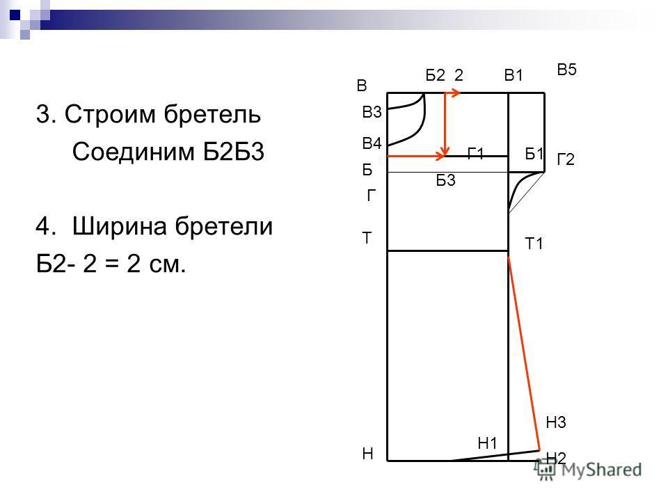 3. Строим бретель Соединим Б2Б3 4. Ширина бретели Б2- 2 = 2 см. В Н В1 Н1 Т Т1 Г Г1 В5 Г2 Н2 Н3 В3 В4 Б1 Б Б3 Б2 2
