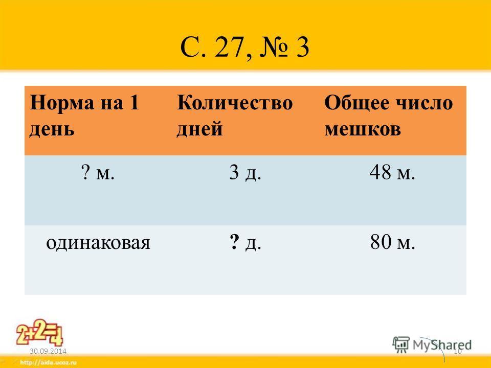 С. 27, 3 Норма на 1 день Количество дней Общее число мешков ? м.3 д.48 м. одинаковая? д.80 м. 30.09.201410