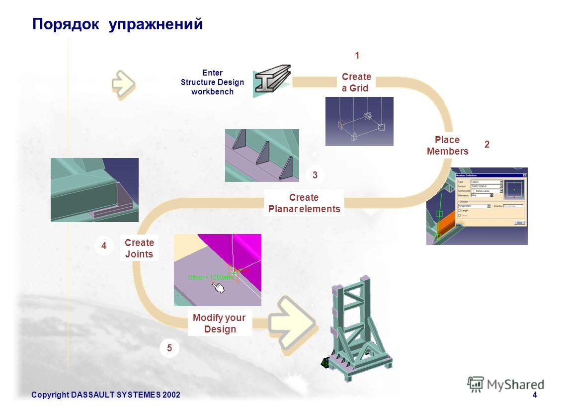 Copyright DASSAULT SYSTEMES 20024 Порядок упражнений Create a Grid Place Members Create Planar elements Create Joints Modify your Design 2 4 5 3 1 Enter Structure Design workbench