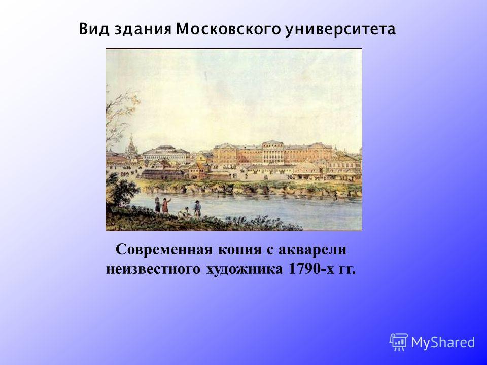 Современная копия с акварели неизвестного художника 1790-х гг. Вид здания Московского университета