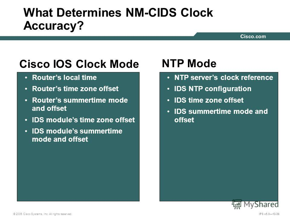 © 2005 Cisco Systems, Inc. All rights reserved. IPS v5.013-36 What Determines NM-CIDS Clock Accuracy? NTP Mode Cisco IOS Clock Mode NTP servers clock reference IDS NTP configuration IDS time zone offset IDS summertime mode and offset Routers local ti