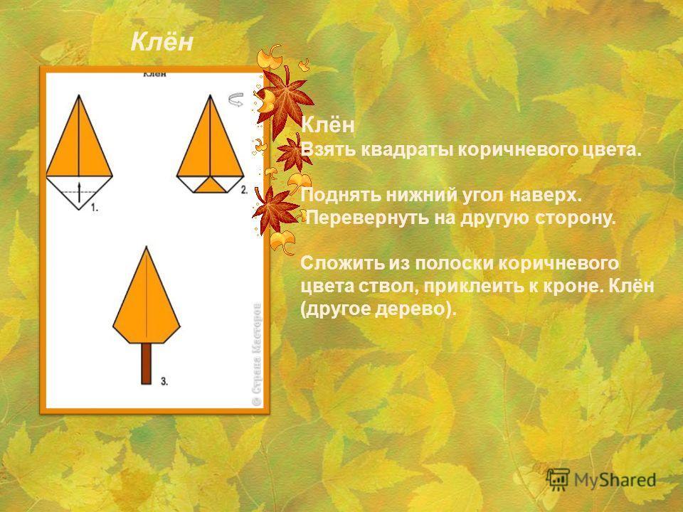 Клён Взять квадраты коричневого цвета. Поднять нижний угол наверх. Перевернуть на другую сторону. Сложить из полоски коричневого цвета ствол, приклеить к кроне. Клён (другое дерево). Клён
