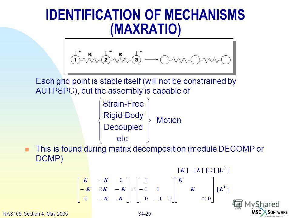 S4-20NAS105, Section 4, May 2005 IDENTIFICATION OF MECHANISMS (MAXRATIO) Each grid point is stable itself (will not be constrained by AUTPSPC), but the assembly is capable of n This is found during matrix decomposition (module DECOMP or DCMP) Strain-