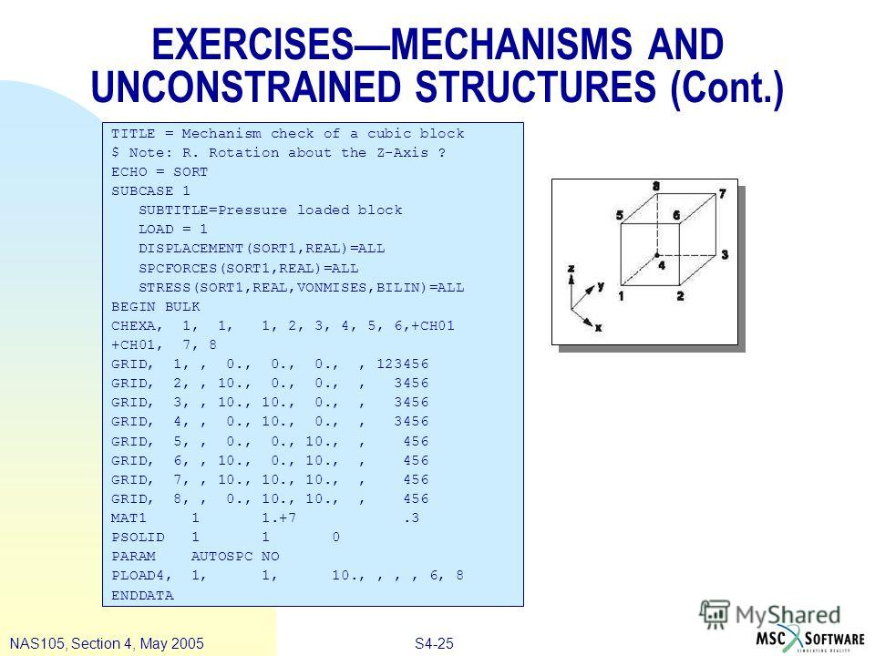 S4-25NAS105, Section 4, May 2005 EXERCISESMECHANISMS AND UNCONSTRAINED STRUCTURES (Cont.) TITLE = Mechanism check of a cubic block $ Note: R. Rotation about the Z-Axis ? ECHO = SORT SUBCASE 1 SUBTITLE=Pressure loaded block LOAD = 1 DISPLACEMENT(SORT1