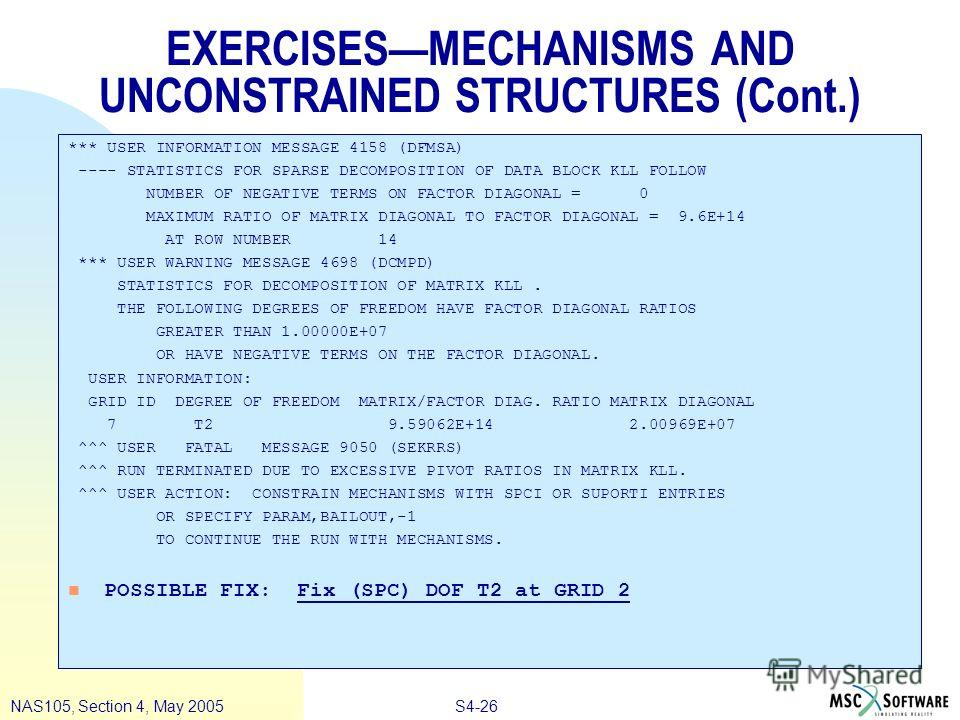 S4-26NAS105, Section 4, May 2005 EXERCISESMECHANISMS AND UNCONSTRAINED STRUCTURES (Cont.) *** USER INFORMATION MESSAGE 4158 (DFMSA) ---- STATISTICS FOR SPARSE DECOMPOSITION OF DATA BLOCK KLL FOLLOW NUMBER OF NEGATIVE TERMS ON FACTOR DIAGONAL = 0 MAXI