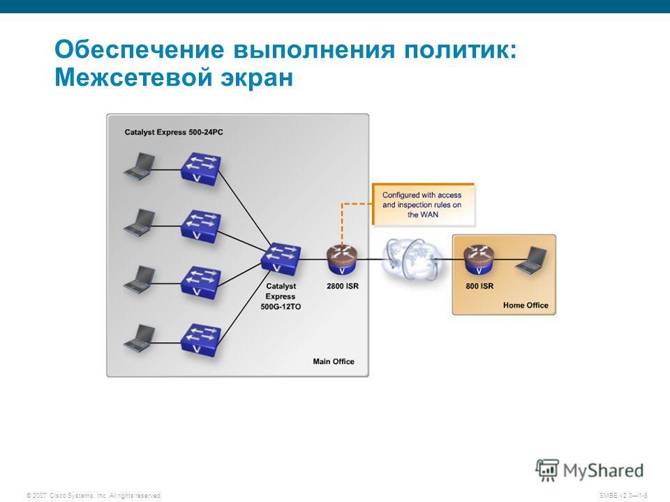 © 2007 Cisco Systems, Inc. All rights reserved. SMBE v2.01-8 Обеспечение выполнения политик: Межсетевой экран