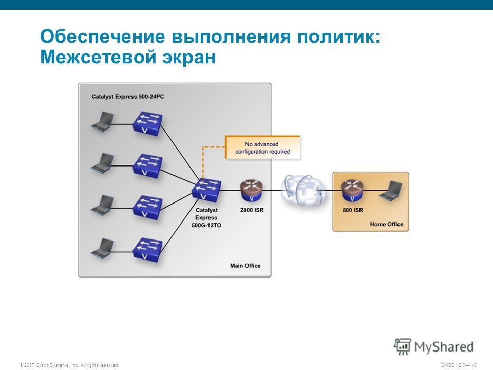 © 2007 Cisco Systems, Inc. All rights reserved. SMBE v2.01-9 Обеспечение выполнения политик: Межсетевой экран