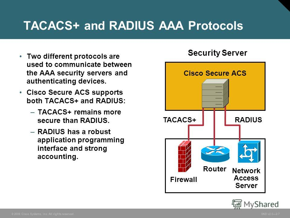 © 2006 Cisco Systems, Inc. All rights reserved. SND v2.02-7 TACACS+ and RADIUS AAA Protocols Two different protocols are used to communicate between the AAA security servers and authenticating devices. Cisco Secure ACS supports both TACACS+ and RADIU