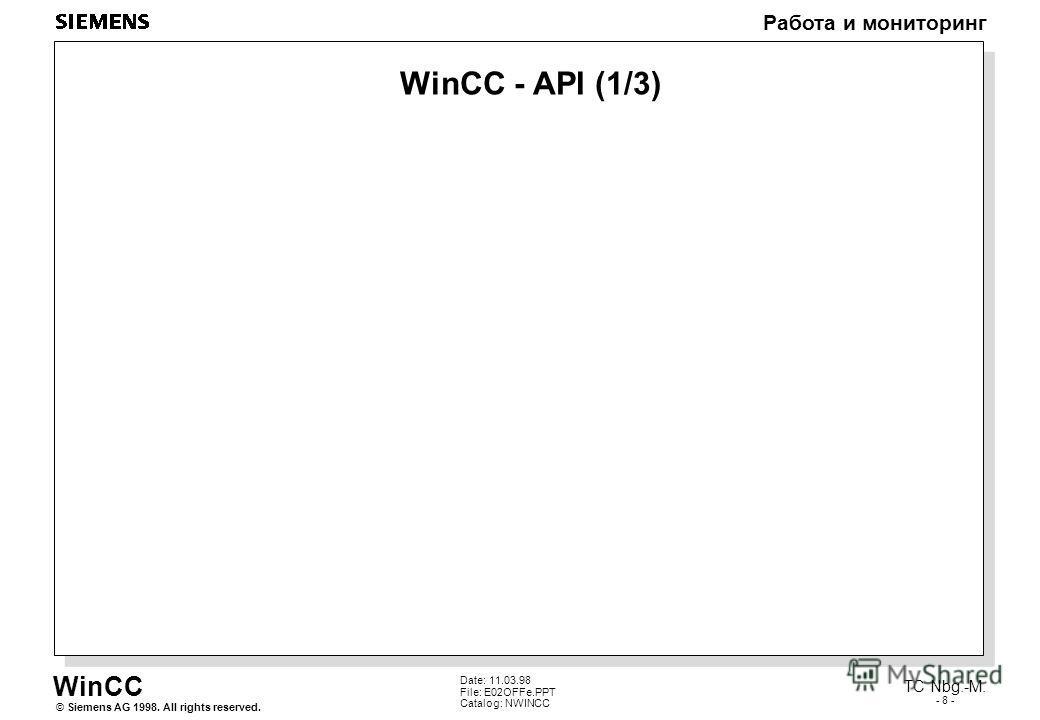 WinCC Работа и мониторинг Siemens AG 1998. All rights reserved.© TC Nbg.-M. - 8 - Date: 11.03.98 File: E02OFFe.PPT Catalog: NWINCC WinCC - API (1/3)