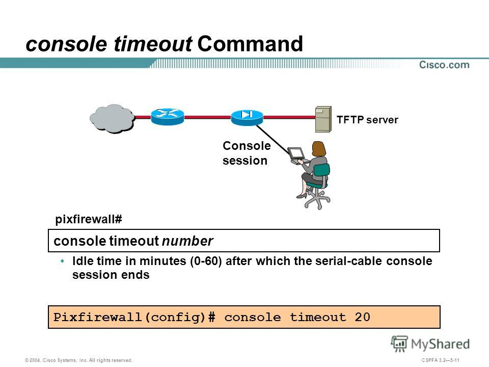 © 2004, Cisco Systems, Inc. All rights reserved. CSPFA 3.25-11 console timeout Command TFTP server Console session Pixfirewall(config)# console timeout 20 console timeout number pixfirewall# Idle time in minutes (0-60) after which the serial-cable co