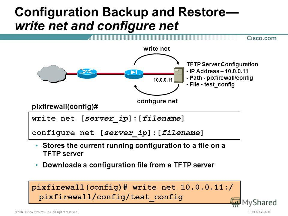 © 2004, Cisco Systems, Inc. All rights reserved. CSPFA 3.25-16 Configuration Backup and Restore write net and configure net pixfirewall(config)# write net [server_ip]:[filename] configure net [server_ip]:[filename] Stores the current running configur
