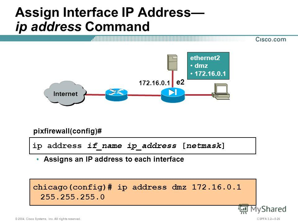 © 2004, Cisco Systems, Inc. All rights reserved. CSPFA 3.25-26 ip address if_name ip_address [netmask] pixfirewall(config)# Assign Interface IP Address ip address Command Assigns an IP address to each interface chicago(config)# ip address dmz 172.16.