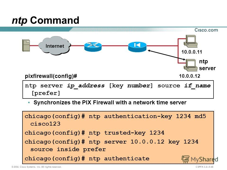 © 2004, Cisco Systems, Inc. All rights reserved. CSPFA 3.25-48 ntp Command Synchronizes the PIX Firewall with a network time server chicago(config)# ntp authentication-key 1234 md5 cisco123 chicago(config)# ntp trusted-key 1234 chicago(config)# ntp s