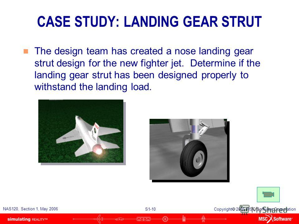 S1-10 NAS120, Section 1, May 2006 Copyright 2006 MSC.Software Corporation CASE STUDY: LANDING GEAR STRUT n The design team has created a nose landing gear strut design for the new fighter jet. Determine if the landing gear strut has been designed pro