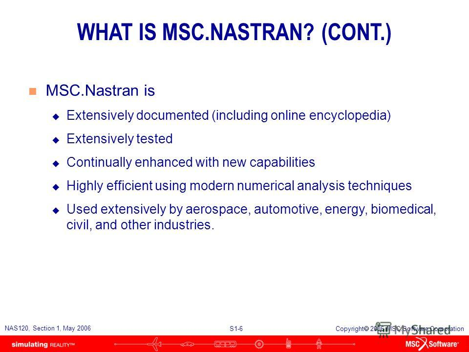 S1-6 NAS120, Section 1, May 2006 Copyright 2006 MSC.Software Corporation WHAT IS MSC.NASTRAN? (CONT.) n MSC.Nastran is u Extensively documented (including online encyclopedia) u Extensively tested u Continually enhanced with new capabilities u Highly