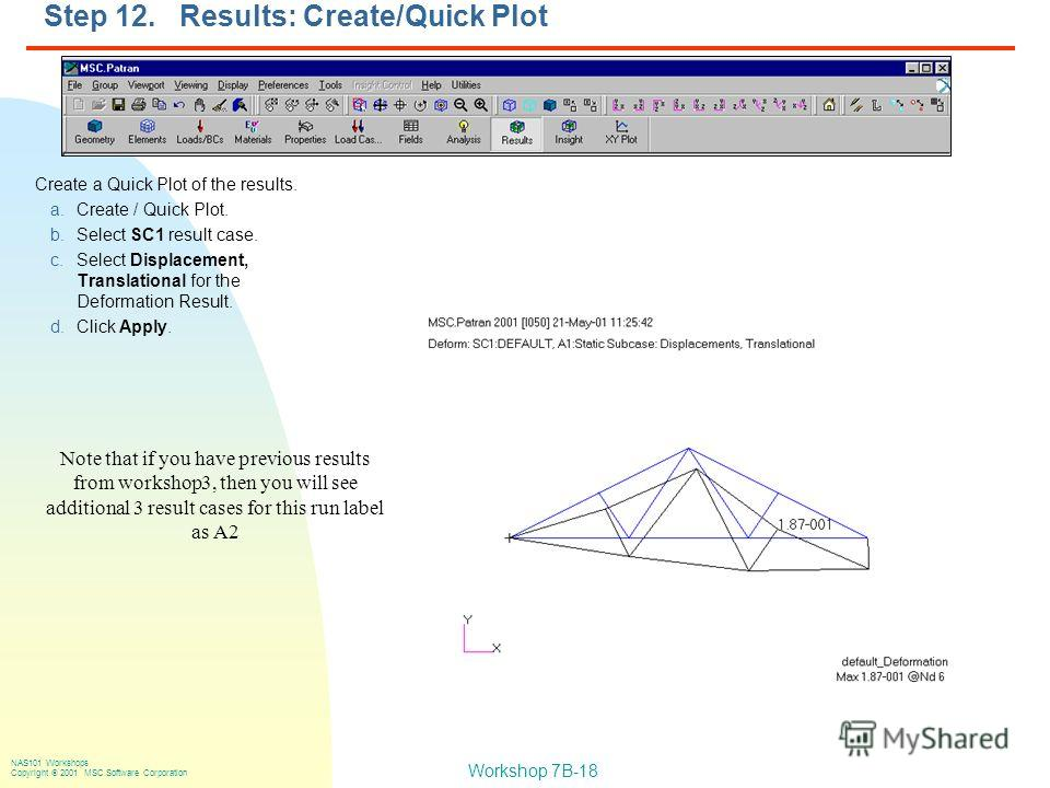 Workshop 7B-18 NAS101 Workshops Copyright 2001 MSC.Software Corporation Step 12. Results: Create/Quick Plot Create a Quick Plot of the results. a.Create / Quick Plot. b.Select SC1 result case. c.Select Displacement, Translational for the Deformation