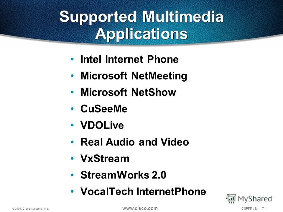 © 2000, Cisco Systems, Inc. www.cisco.com CSPFF v1.17-14 Supported Multimedia Applications Intel Internet Phone Microsoft NetMeeting Microsoft NetShow CuSeeMe VDOLive Real Audio and Video VxStream StreamWorks 2.0 VocalTech InternetPhone