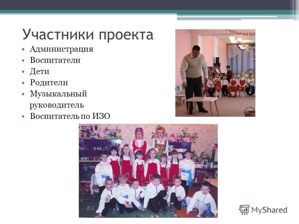 Участники проекта Администрация Воспитатели Дети Родители Музыкальный руководитель Воспитатель по ИЗО