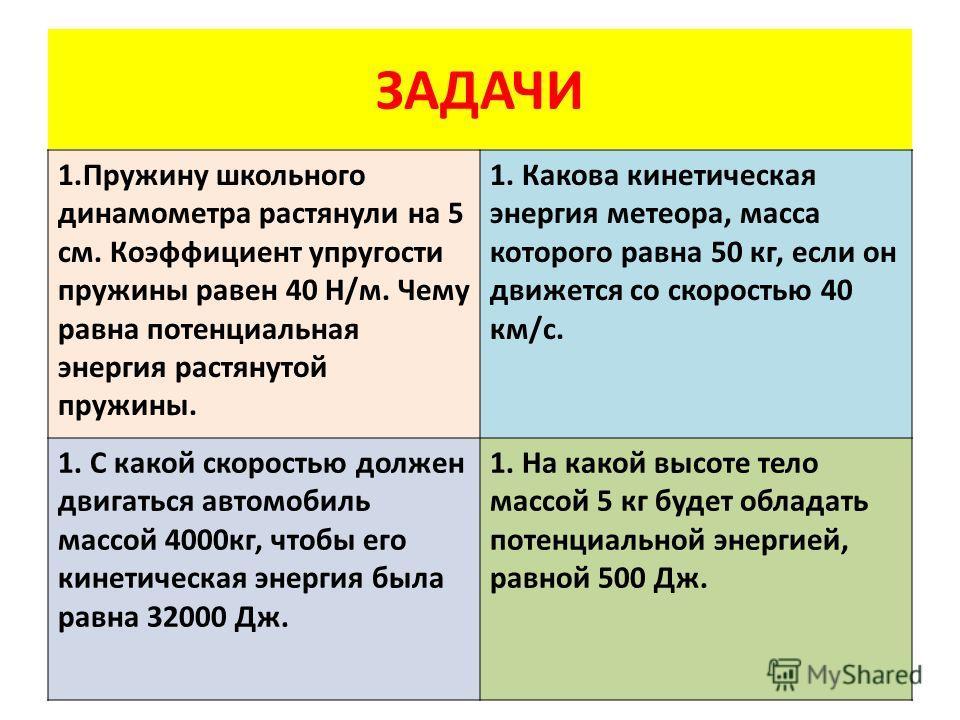 ЗАДАЧИ 1. Пружину школьного динамометра растянули на 5 см. Коэффициент упругости пружины равен 40 Н/м. Чему равна потенциальная энергия растянутой пружины. 1. Какова кинетическая энергия метеора, масса которого равна 50 кг, если он движется со скорос
