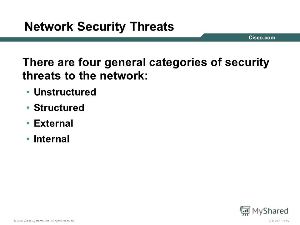 © 2005 Cisco Systems, Inc. All rights reserved. CSI v2.11-16 Network Security Threats There are four general categories of security threats to the network: Unstructured Structured External Internal