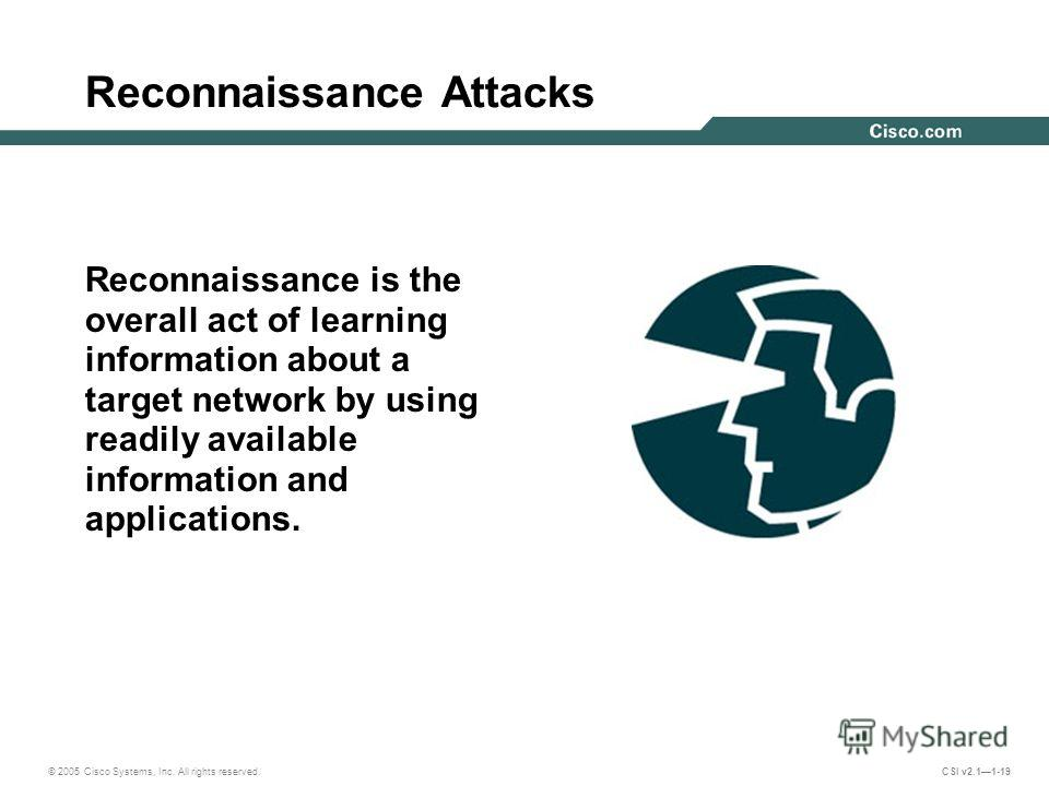 © 2005 Cisco Systems, Inc. All rights reserved. CSI v2.11-19 Reconnaissance Attacks Reconnaissance is the overall act of learning information about a target network by using readily available information and applications.
