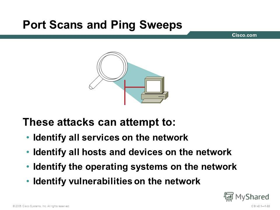 © 2005 Cisco Systems, Inc. All rights reserved. CSI v2.11-22 Port Scans and Ping Sweeps These attacks can attempt to: Identify all services on the network Identify all hosts and devices on the network Identify the operating systems on the network Ide