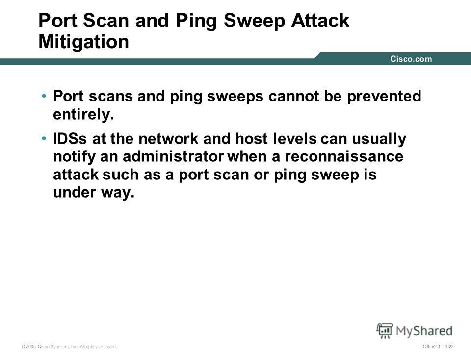 threat assessment of ping sweeps and