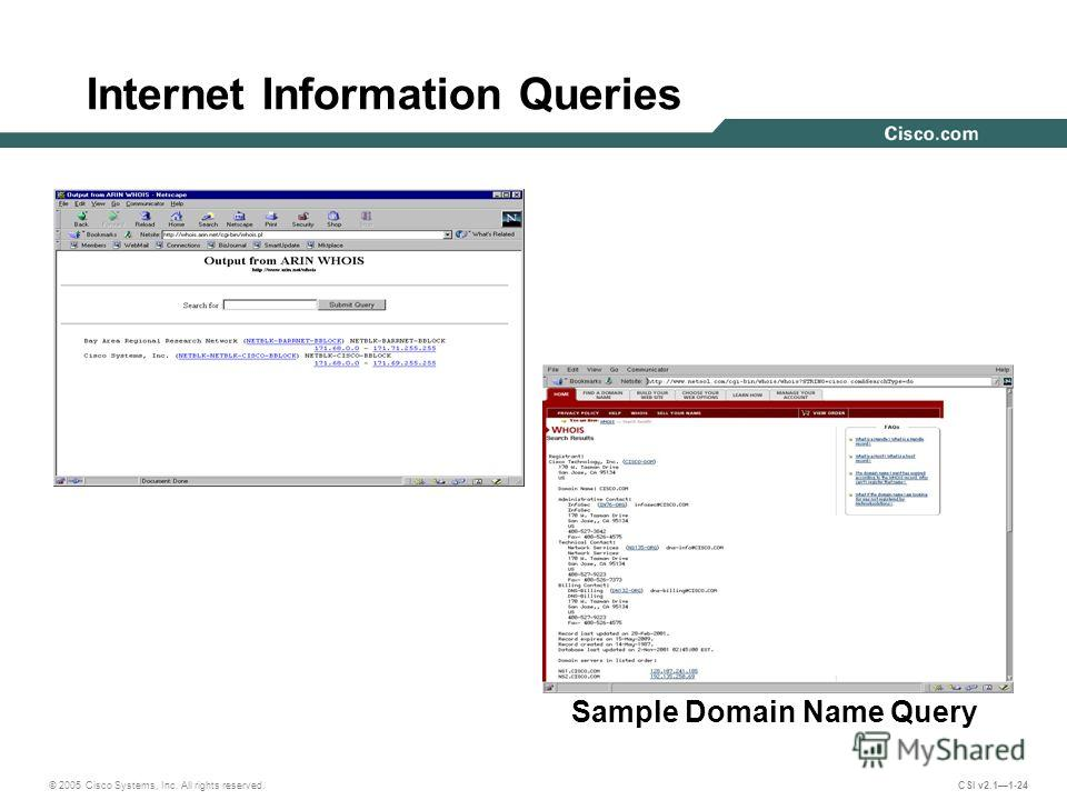 © 2005 Cisco Systems, Inc. All rights reserved. CSI v2.11-24 Internet Information Queries Sample IP address query Sample Domain Name Query